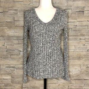 Topshop salt & pepper grey ripped v-neck sweater